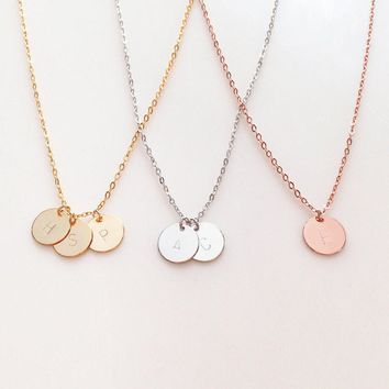 Engraved Initial Inspirational Quote Custom Name Necklace