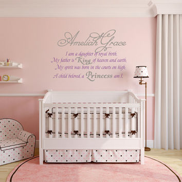 Princess Name Decal, Relegious Wall Decal, Princess Decor, Daughter of Royal Birth, Nursery Name Decal, Girls name Decal