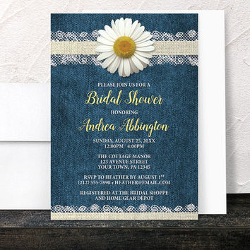 Daisy Bridal Shower Invitations - Burlap and Lace Rustic Blue Denim and Floral design with Yellow and Beige - Printed Invitations