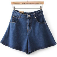 Navy High Waisted Wide Leg Denim Shorts