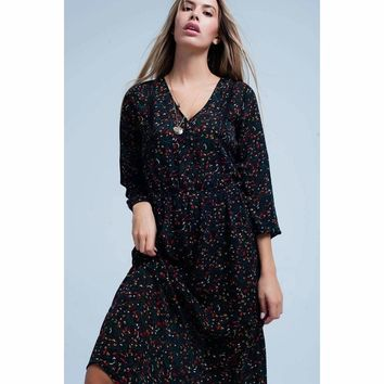 Women's Floral Dress with Elastic Lace Trim