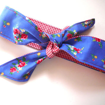 Fabric Hair Tie - Rockabilly Headband - Dolly Bow - Rose Headband -  Fabric Headband - Pam Kitty Fabric