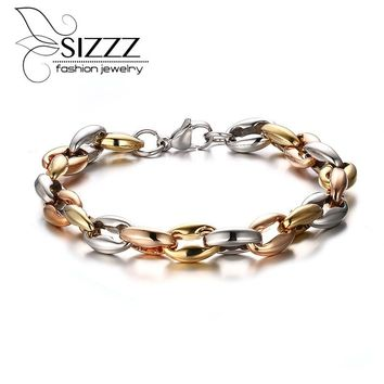Long Bracelet Bangle For Men Jewelry Chunky Stainless Steel Chain African Accessories