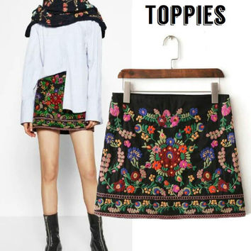 Women Folk Embroidered Skirt Floral Mini Skirt Women Bohemian Aztec High Waist Vintage Embroidery Skirt SK023