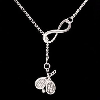 Infinity Tennis Raquet Racket Sport Athlete Lariat Necklace