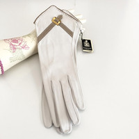 Exceptional French Leather Suit Gloves Size 6 3/4 Unworn Original Tags Bone Taupe