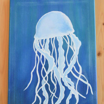 Jelly fish painting, Hand painted jelly fish on canvas, beach wall decor, ocean wall decor,  jelly fish art, blue jelly fish wall decor,