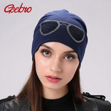 Geebro Women's Sunglasses Style Beanies Hat Spring Casual Polyester Rhinestones Slouchy Beanie For Women Balaclava Skullies Caps