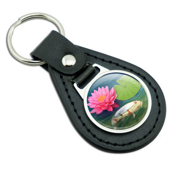 Koi Pond with Lotus Black Leather Keychain