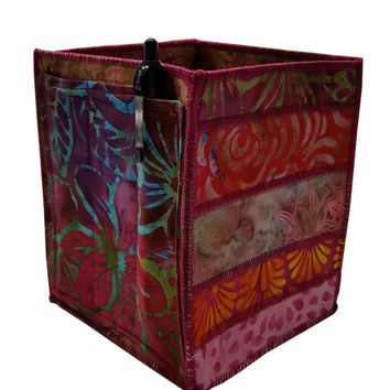 Home Storage Organizer Pencil Box in Pink Batik