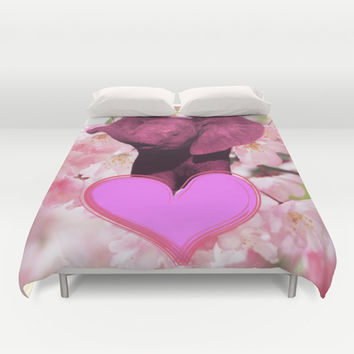 Pink Elephant Duvet Cover by Erika Kaisersot