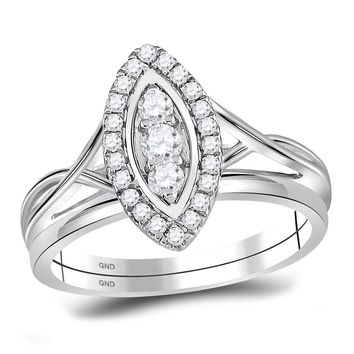 10kt White Gold Womens Round Diamond Oval Cluster Bridal Wedding Engagement Ring 1/3 Cttw