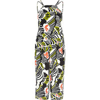 River Island Womens White floral strappy wide leg jumpsuit
