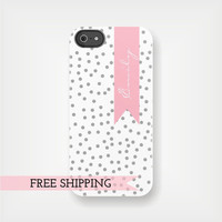 Personalized Pink Ribbon iPhone or Samsung Galaxy Case - Grey and Pink Confetti Dots - original design a drop of golden sun