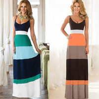 Casual Stripe Spaghetti Strap Maxi Dress