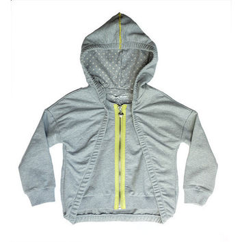 Fun&Fun - Girl Zipper Hoodie, Grey Lime