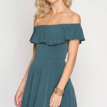 Fit and Flare Ruffled Neck Off Shoulder Dress