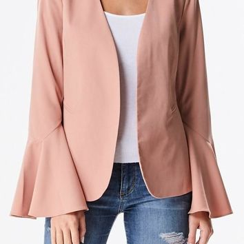 Lauren Bell Sleeve Blazer - Blush