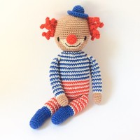 Amigurumi Soft baby toy for Child Plushie toy Crochet Clown Gift for son Christmas gift for kids