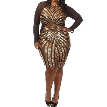 Womens Elegant Geometric Sequined Gauze Patchwork Sexy Perspective Sheath Party Causal Plus Size Bodycon Dress XXXL PL4472