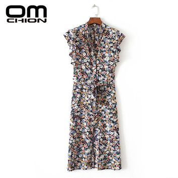 V Neck Petal Sleeve Women Dress Vintage Floral Printed Summer Dresses Casual Belt Split Summer Dress
