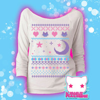 Ugly Christmas Sweater Kawaii Wideneck Sweatshirt Fairy Kei Pastel Goth