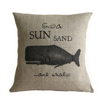 Sea Sun Sand and Whale Nautical Hessian Burlap Pillow Cushion Cover 16""