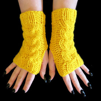 Fingerless Gloves, Knitted Gloves, Cable Knit Chunky Arm Warmers, Fingerless Mittens, School Gloves, Yellow, Winter Wool, Gloves Armwarmers