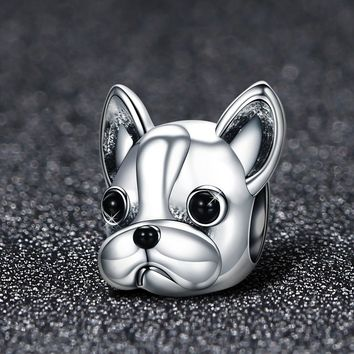 925 Sterling Silver Loyal Partners French BULLDOG Doggy Animal Beads fit Women Charm Bracelets Dog Jewelry