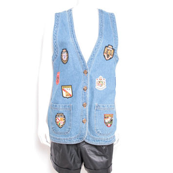 Vintage CMC Denim Button Up Vest with Patches from Different Countries All Over