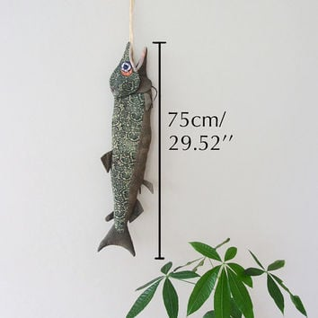 Mothers day gift, Wall hanging fish, holiday ornaments, salmon home decor, festive home decor, Aramaki salmon, vintage kimono fabric
