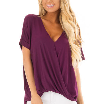 Deep Purple Crossover Drape Style Tee with Cuffed Sleeves
