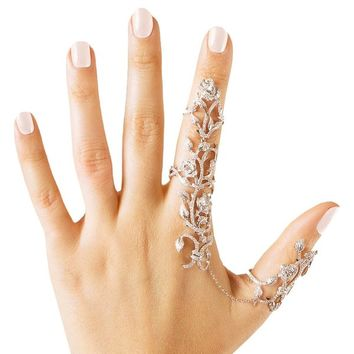Babeyond® Charm Rhinestones Crystal Chain Link Finger Double Ring Rose Design Free Size