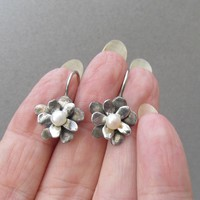 1980's Vintage Hand-Made Sterling Silver & Cultured Pearl Flower Pierced Earrings