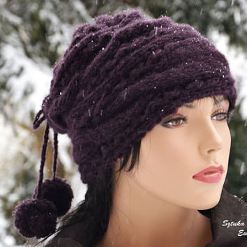 Plumb Handmade Knitting Hat or cowl with pompoms Slochy hat  Hand Knit Hats Slouch Hat for adult women Gray Slouchy Beanie