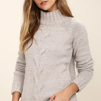 Mink Pink Now and Then Light Grey Sweater