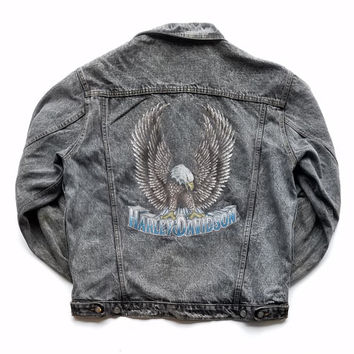 Vintage Harley Davidson Bald Eagle Denim Trucker Jacket Size Large Made In USA