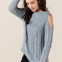 Darby Cold Shoulder Cable Knit Sweater