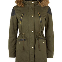 Teens Khaki Contrast Shoulder Panel Faux Fur Trim Hooded Parka