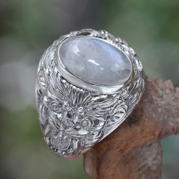 Men's rainbow moonstone ring, 'Lion's Charisma'
