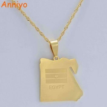 Anniyo (Pendant Size 2.8cm x 2.6cm) Country Egypt Map & Flag Necklace Pendant Gold Color