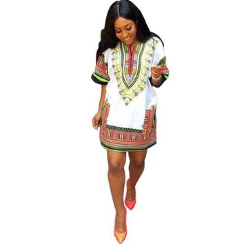 White Print  Traditional African Summer Dress   Straight Print Above Knee  Dresses