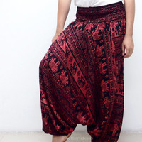 Thai Elephants Black Boho Harem Pants/ Hippie Pants/ Gypsy Aladdin Genie Pants/ Yoga Pants/  Wide Leg Pants (Red)