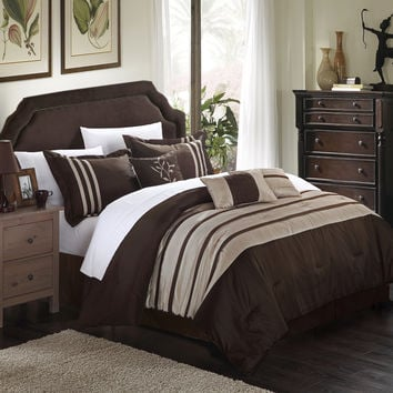 Chic Home Therry Pleated Piecing Luxury Bedding Collection 7-Piece Comforter Set Pleated Piecing Luxury Bedding Collection, Queen Size, Taupe; Bedskirt, Shams and Decorative Pillows Included