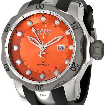 Invicta Men's Reserve GMT Orange Dial Black Polyurethane 6590