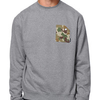 Akomplice Camo Grey Pocket Crew Neck Sweatshirt