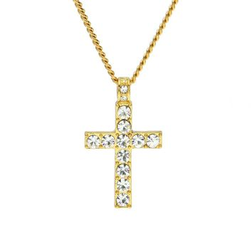 Bling Rhinestone Crystal Cross Pendant Necklace