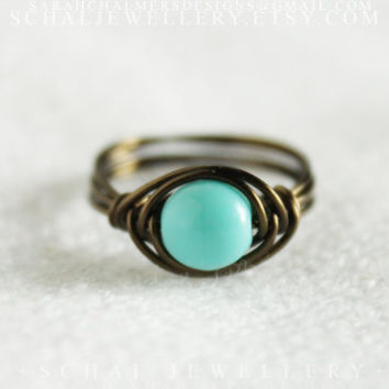 Turquoise boho ring, wire wrapped ring, rustic ring, handmade jewelry, unique ring