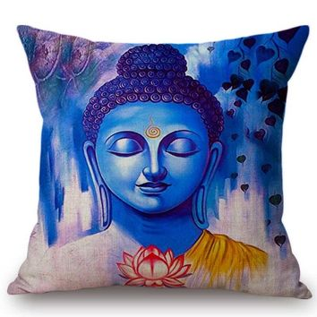 Watercolor Buddha Buddhism Decoration Art Living Room Decorative Pillow Case Meditation Southeast Asia Style Decor Cushion Cover