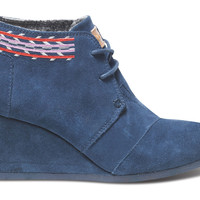 Navy Embroidered Women's Desert Wedges US